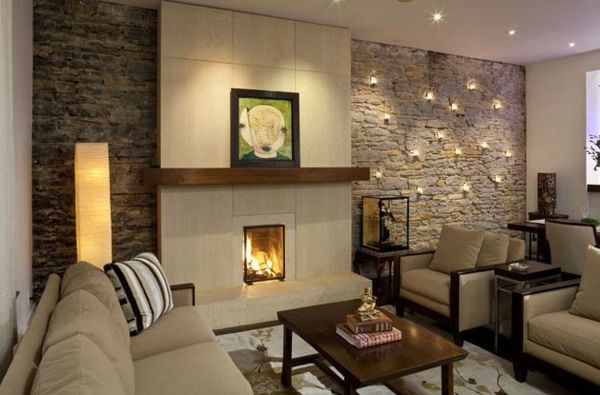 Living Room Decoration Ideas Natural Stone Wall Recessed Lighting Fireplace