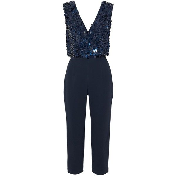 f06529502410 Cushnie Et Ochs Cropped sequined tulle-paneled crepe jumpsuit ( 758) ❤  liked on Polyvore featuring jumpsuits
