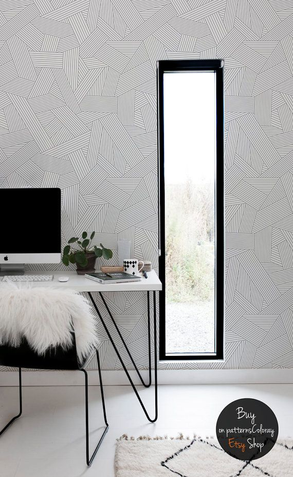 Abstract line ornament pattern grey and white wallpaper geometric