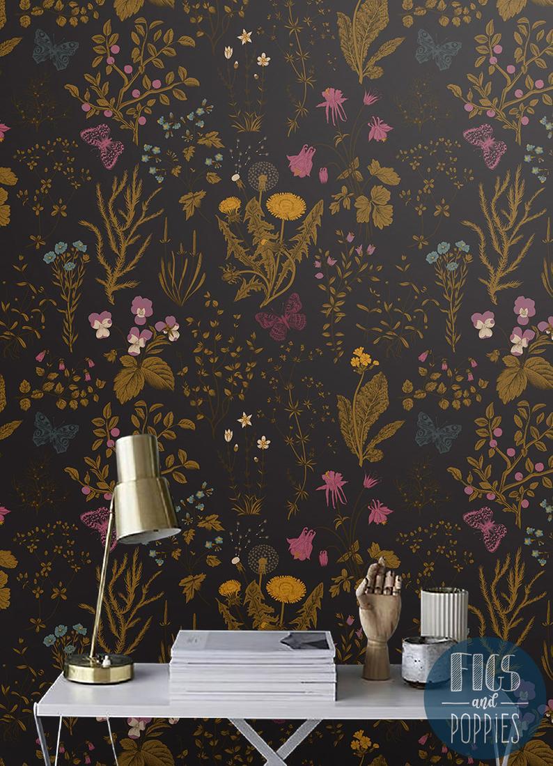 Dark Field Flowers 239 Removable Wallpaper Gold And Onyx Etsy Temporary Wallpaper Removable Wallpaper Poppy Decor