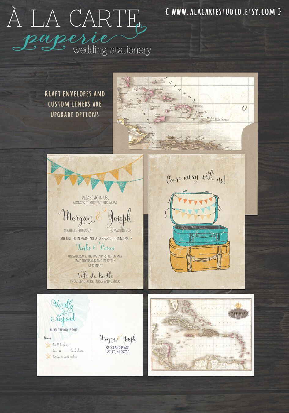 destination wedding invitation rsvp date%0A Vintage Suitcases Destination Wedding Invitation RSVP rustic vintage  illustrated wedding invitation boho chic invitation bunting flags