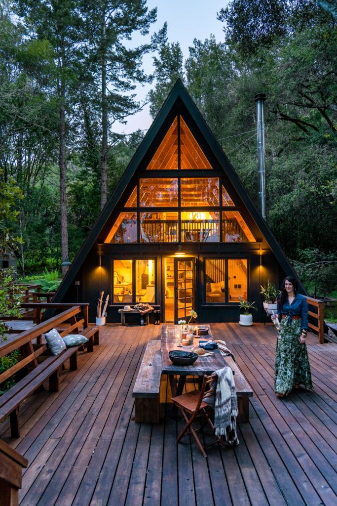 This A-Frame Cabin in West Marin Is a Modern-Boho Paradise