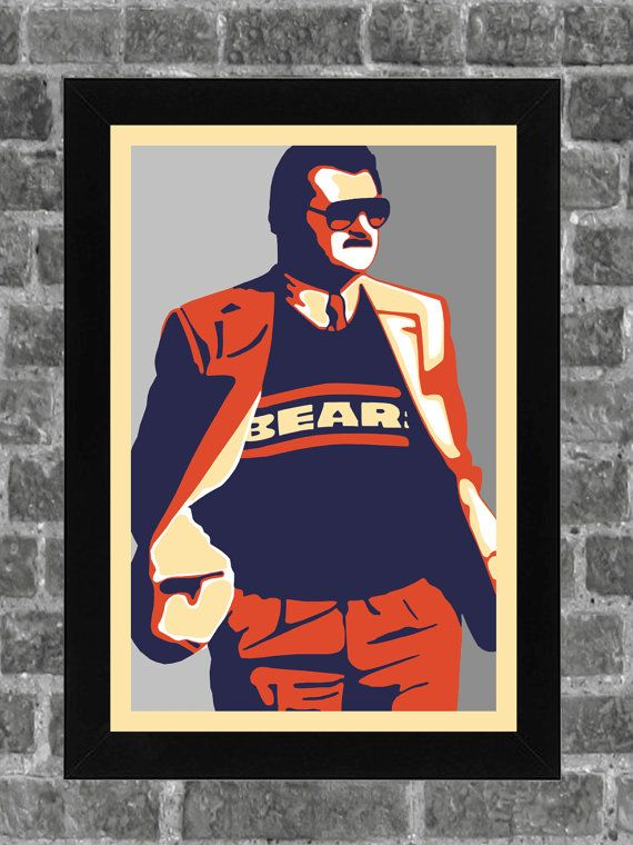 Chicago Bears Mike Ditka Walter Payton Portrait By KCPrinting, $14.99