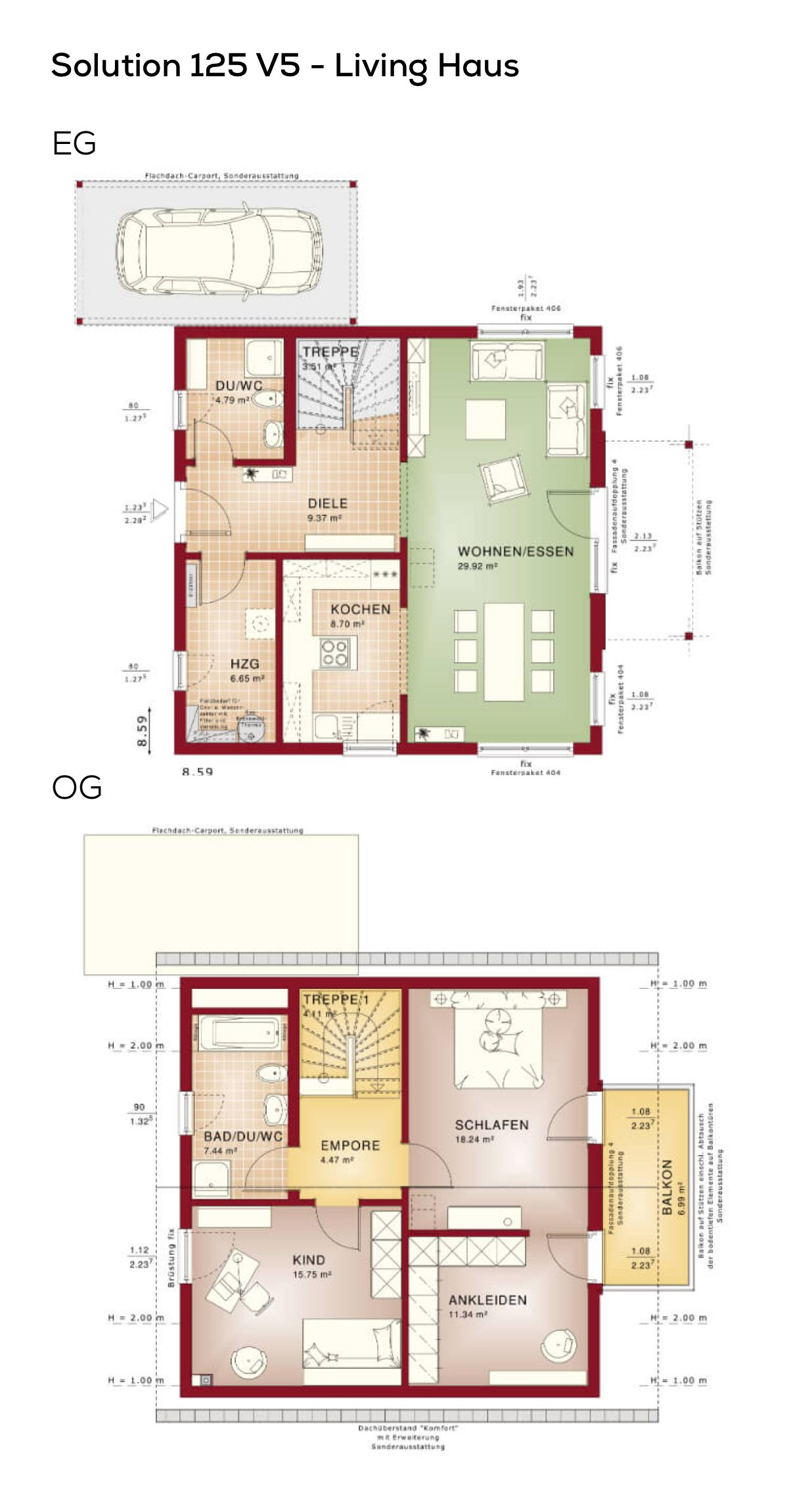 Grundriss Einfamilienhaus mit Satteldach & Carport - 3 Zimmer, 124 ...