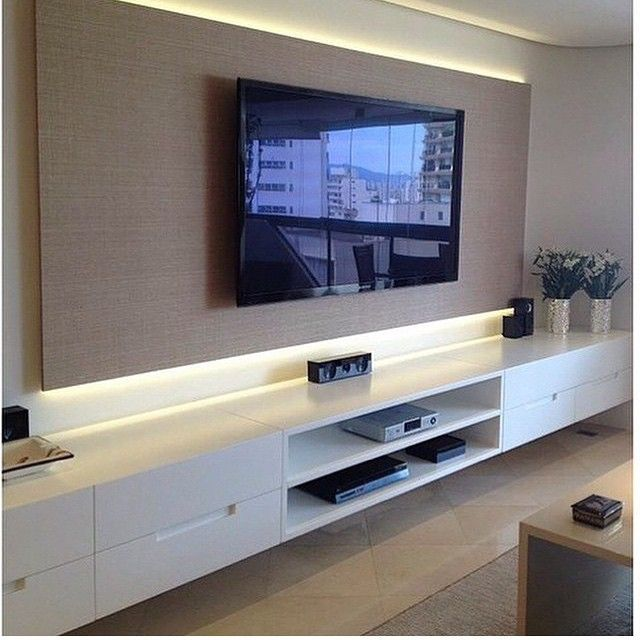 Home theater destaque para o rack suspenso com painel for Como e living room em portugues