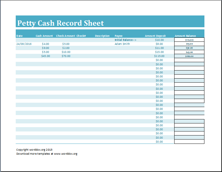 Petty Cash Record Sheet Should Be Designed To Have Complete