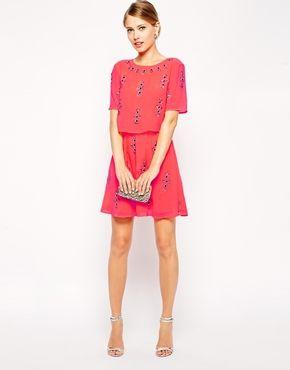 bf02e3d0c2 Fluro Crop Top Embellished Skater Dress | clothes | Dresses, Fashion ...