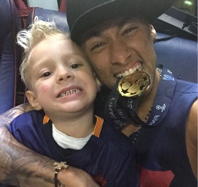 Neymar and his everything David with his Gold Medal as a FC Barcelona UEFA Campion