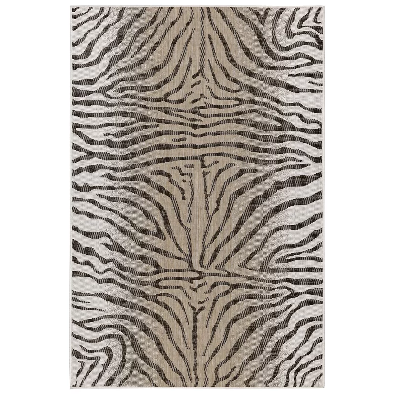 Osman Animal Print Sand/Gray Indoor / Outdoor Area Rug in