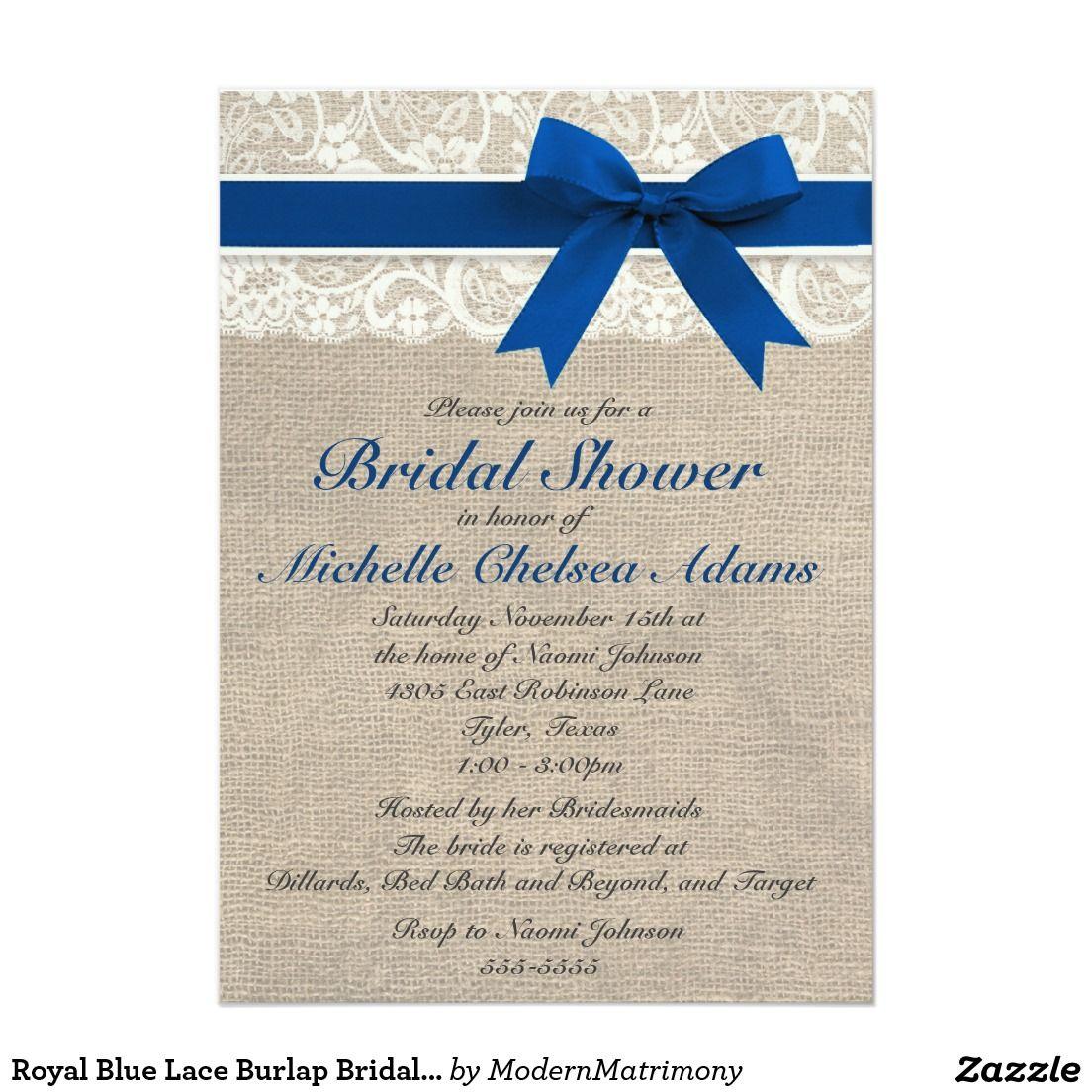 Royal Blue Lace Burlap Bridal Shower Invitation | Wedding Ideas ...
