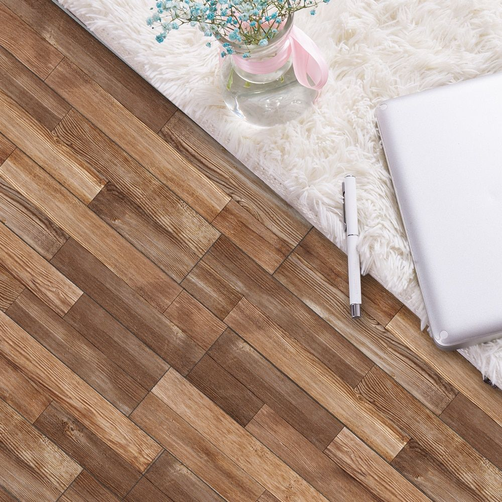 7pcs Set Wooden Floor Sticker Waterproof Self Adhesive Floor Decorative Tile Sticker Living Room Bedroom House Decoration In 2020 Plank Flooring Home Decor Decor