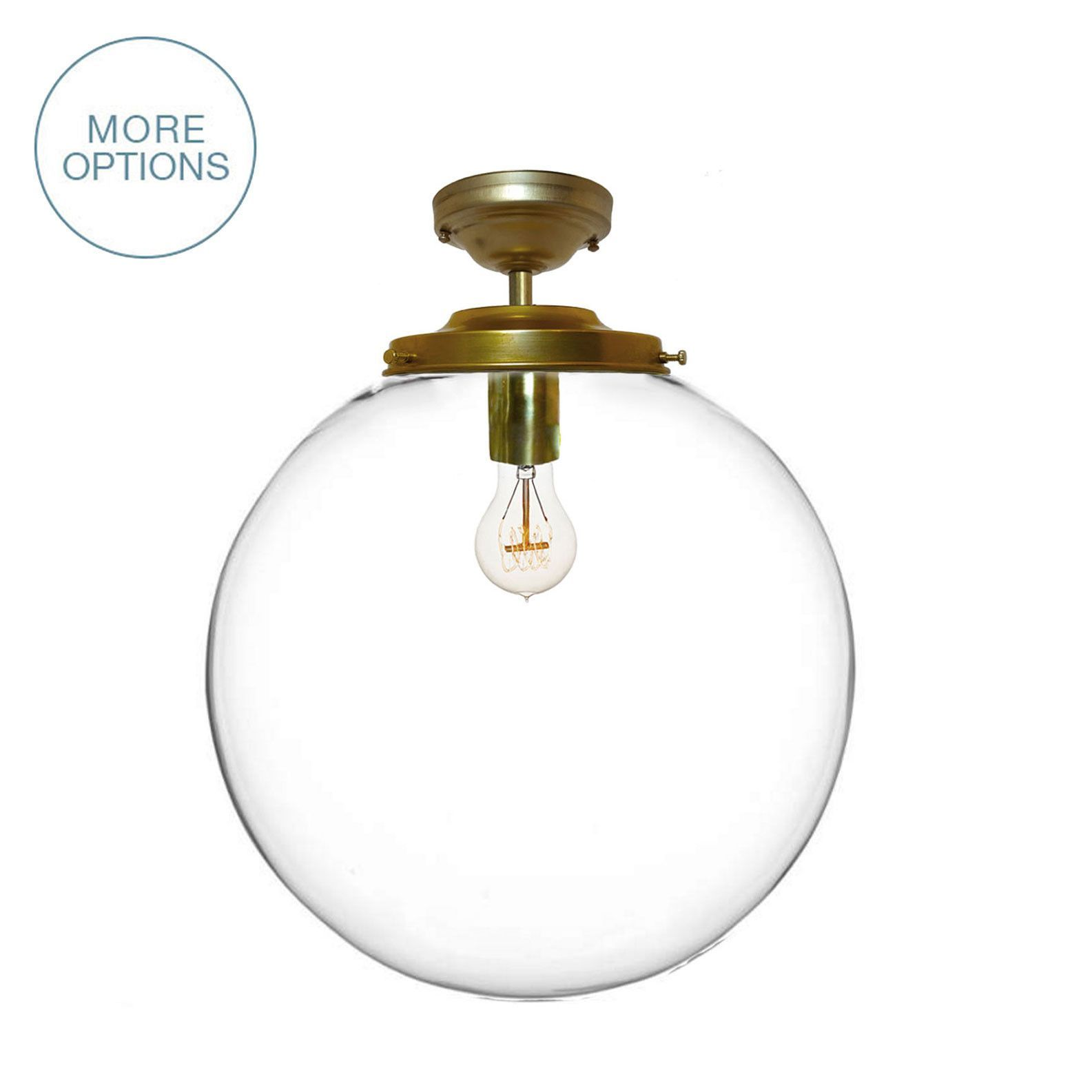 "16"" Clear Blown Glass Globe Chandelier Pendant Light Flushmount"