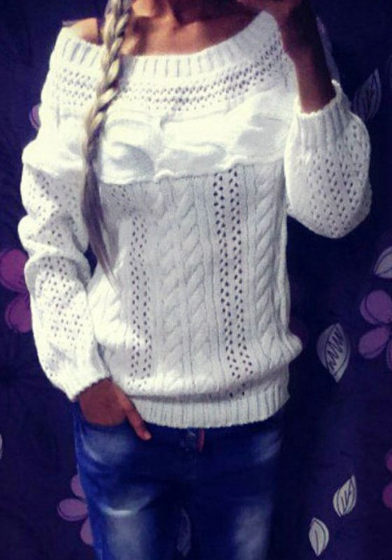 White Boat-Neck Knit Sweater – Lookbook Store $23
