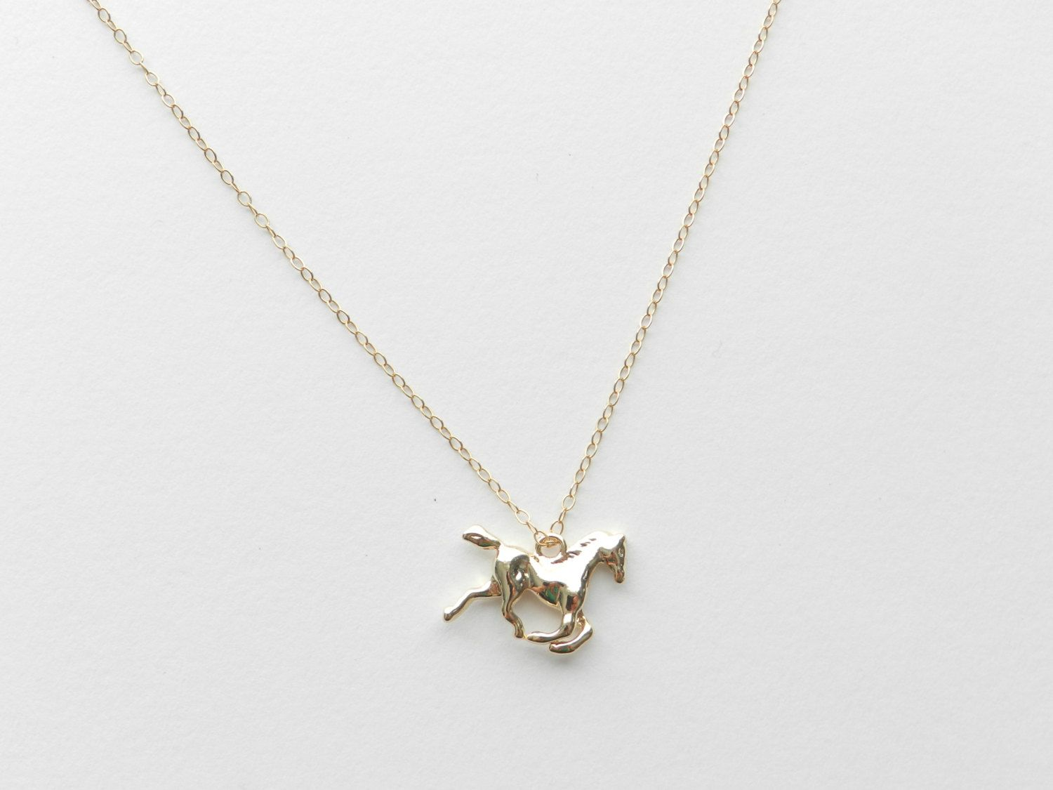 Itty Bitty Horse necklace with 14k gold filled chain.. $26.00, via Etsy.