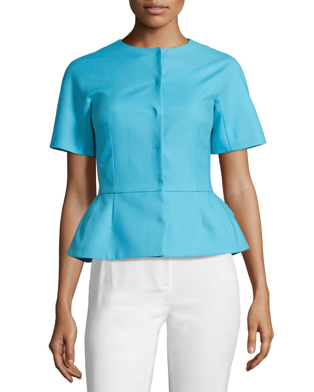 Red Valentino Short-Sleeve Peplum Jacket, Celeste, Women's, Size: 40