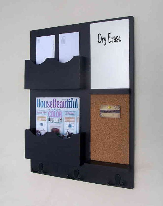 Mail Organizer - Cork Board - White Board - Key Hooks - Wood - Wall Hanging
