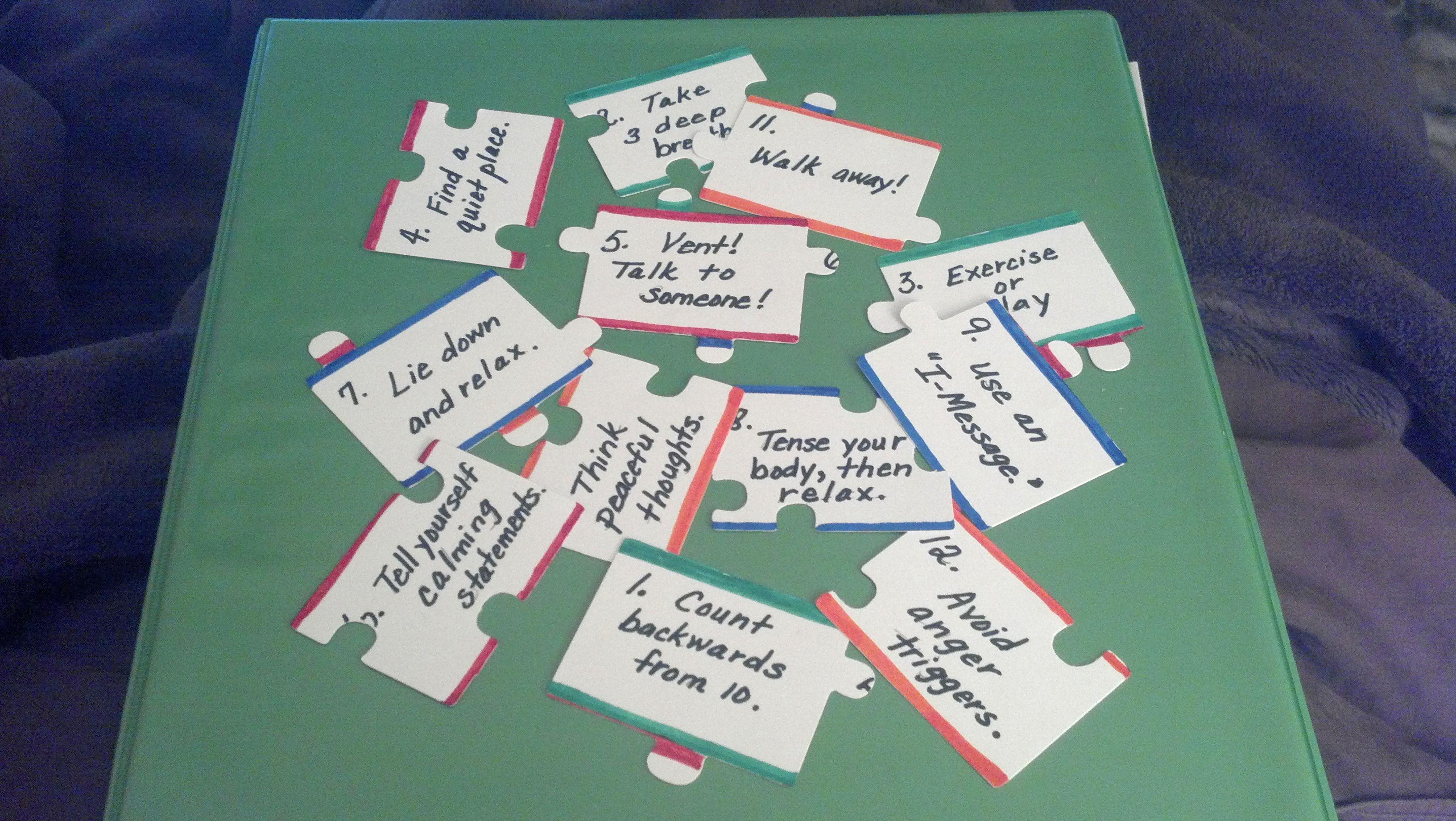 Puzzle Pieces To Discuss Anger Management