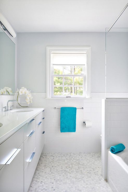 White And Gray Bathroom With Turquoise Accents Contemporary