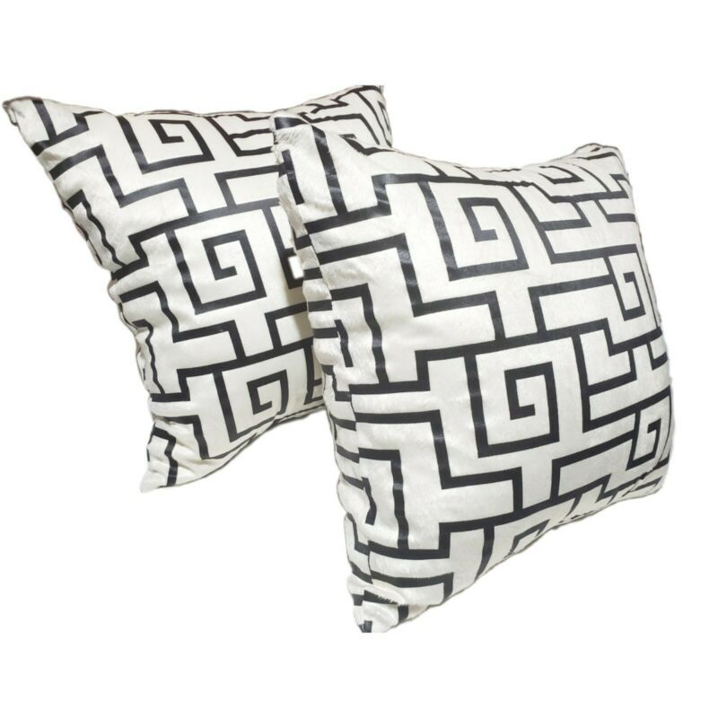 Decorative Throw Pillow Covers 16x16 White Black Geometric Set Of 2 Pillows Ebay Link In 2020 Decorative Throw Pillow Covers Pillows 16x16 Pillow Cover
