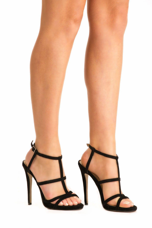 Safiya Strappy High Heel Sandals in Black MODEL FRONT | Graduation ...