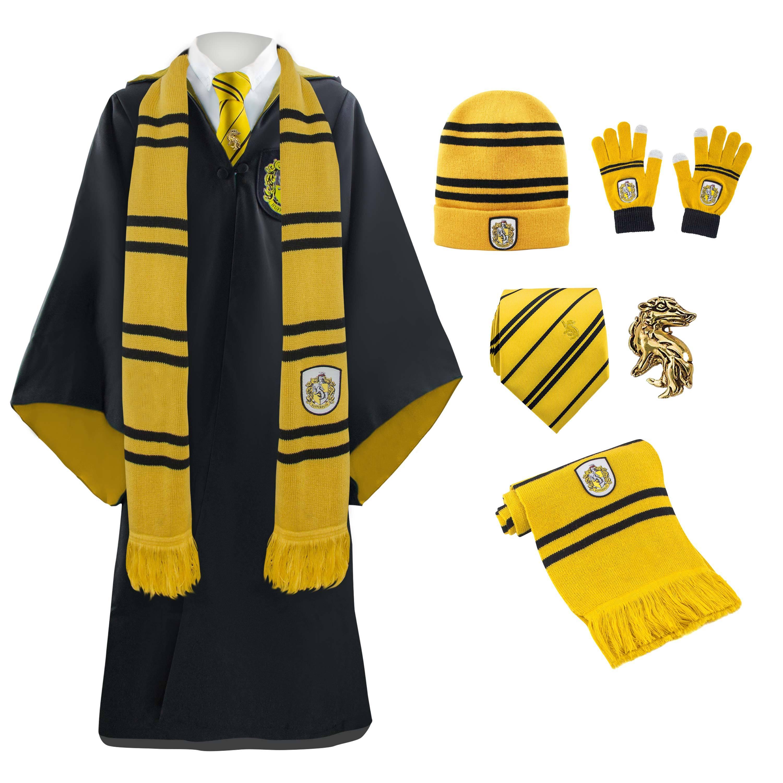 90006226d98 Hufflepuff Full Uniform  Scarf NeckTie Gloves Beanie Robe