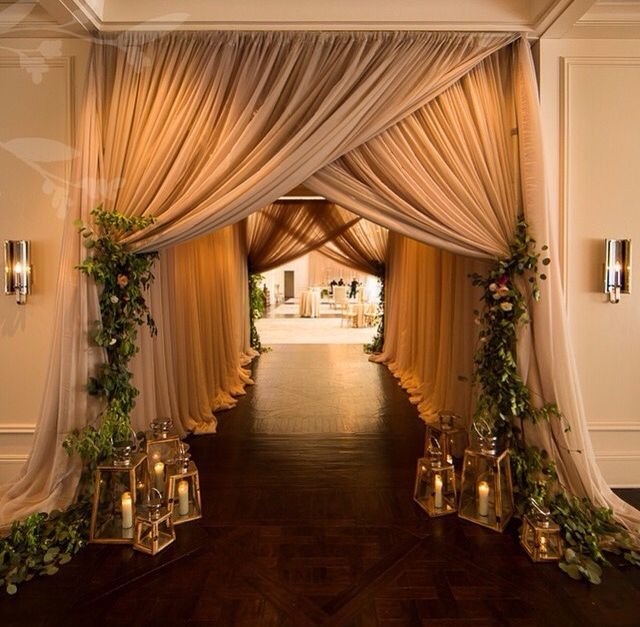 No Ceremony Just Reception: Ceremony Backdrop- White Fabric With Greenery (no Lanterns