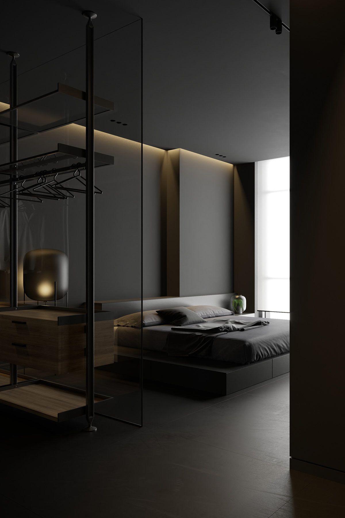 Dark Decor With Alluring Lighting In 2020 Dark Interior Design Black Interior Design Interior