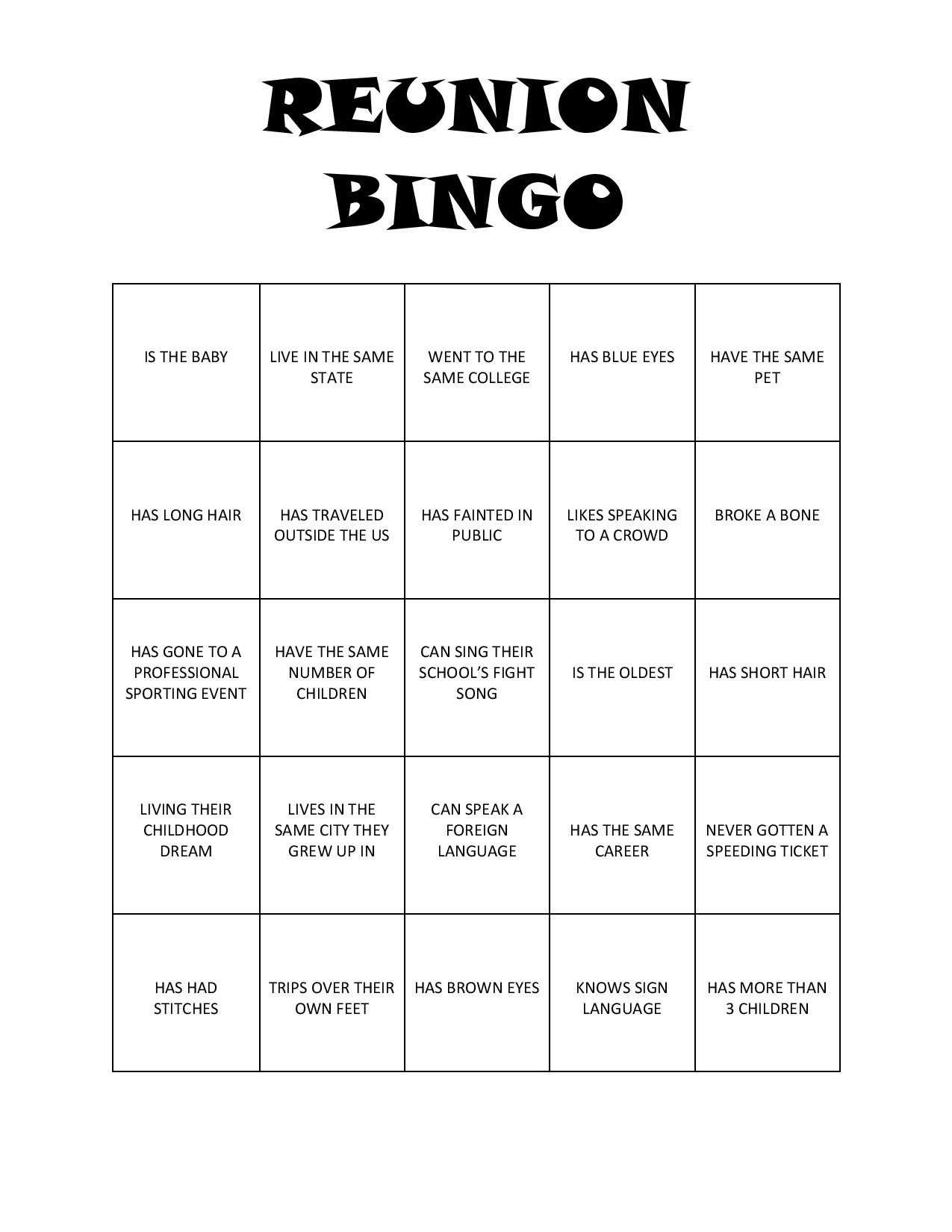 Print this bingo game for your next reunion for loads of fun and to ...