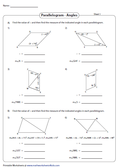 Solve X And Find The Angles Parallelogram Angles Worksheet Angles Math
