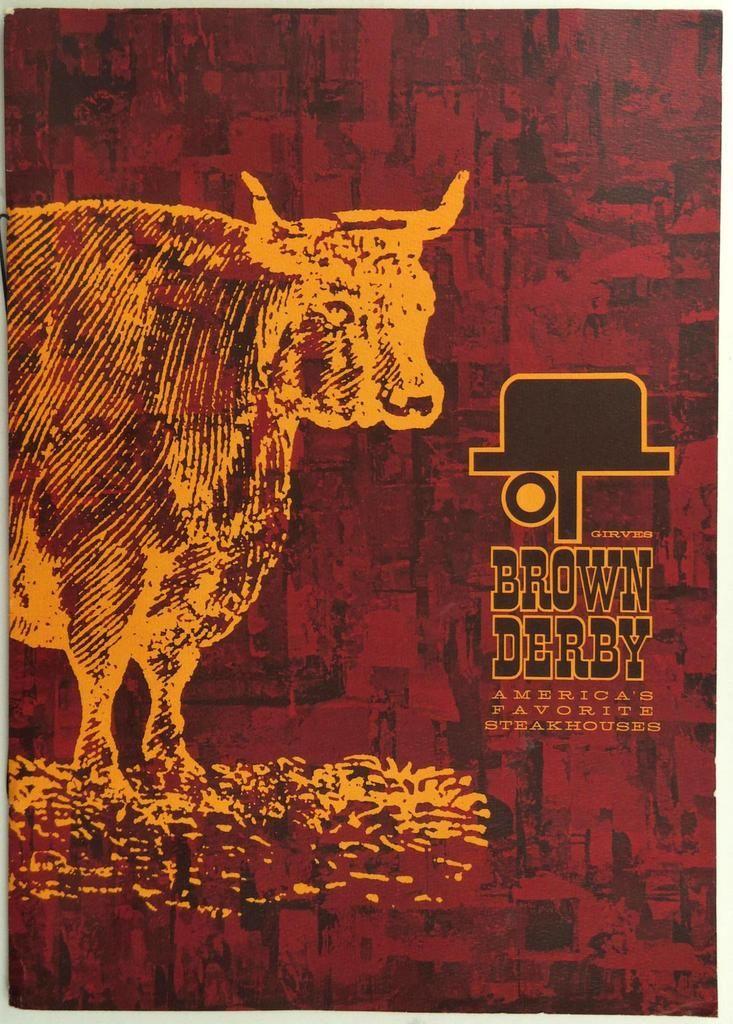 1970's Original Vintage Menu GIRVES BROWN DERBY