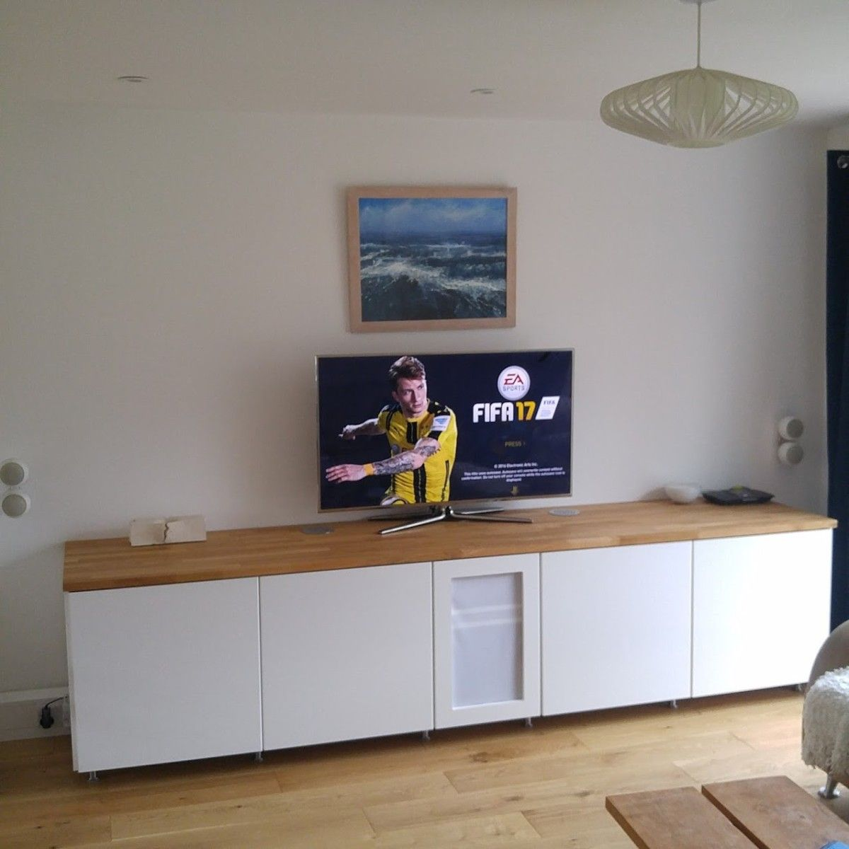 ikea metod cabinets into av unit. Black Bedroom Furniture Sets. Home Design Ideas