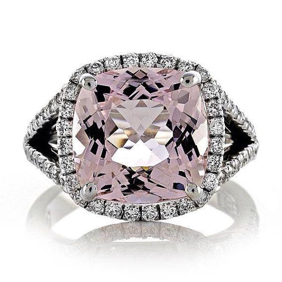 14kt White Gold 9x5mm 3.49ct Cushion Cut Pink Morganite Diamonds .58ct FSI1 Halo Split Shank Engagement Ring Weddin Ring Anniversary Ring on Etsy, $1,650.00