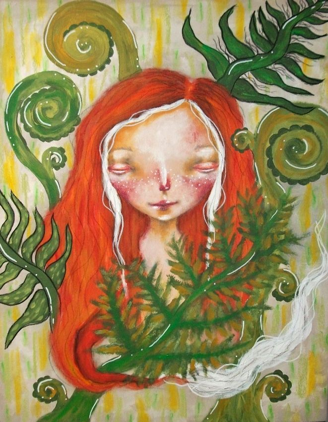 The fox in the ferns - Original painting by Micki Wilde