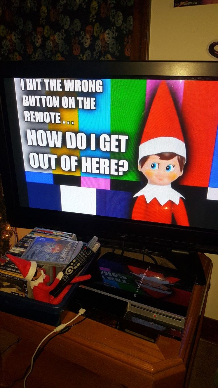 Elf On The Shelf Stuck In The Tv Go To Youtube And Search Elf Stuck In Tv Cast It To Your Tv Using Your Chromecast Fires Elf Fun Christmas Elf Elf On
