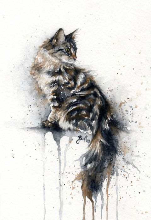 12x16 Original Custom Watercolour Pet Portrait Watercolor Cat