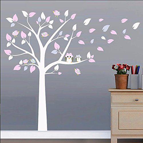 BDECOLL Wandtattoo Großer Baum with Owl Baum Kinderzimmer Deko DIY - wohnzimmer weis rosa