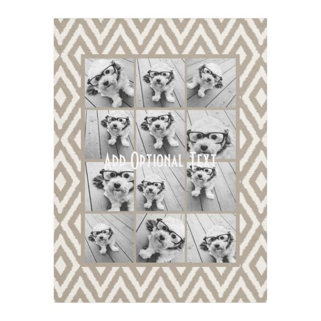 12 Photo Instagram Collage with Khaki Ikat Pattern Fleece Blanket |  12 Photo Instagram Collage with Khaki Ikat Pattern Fleece Blanket