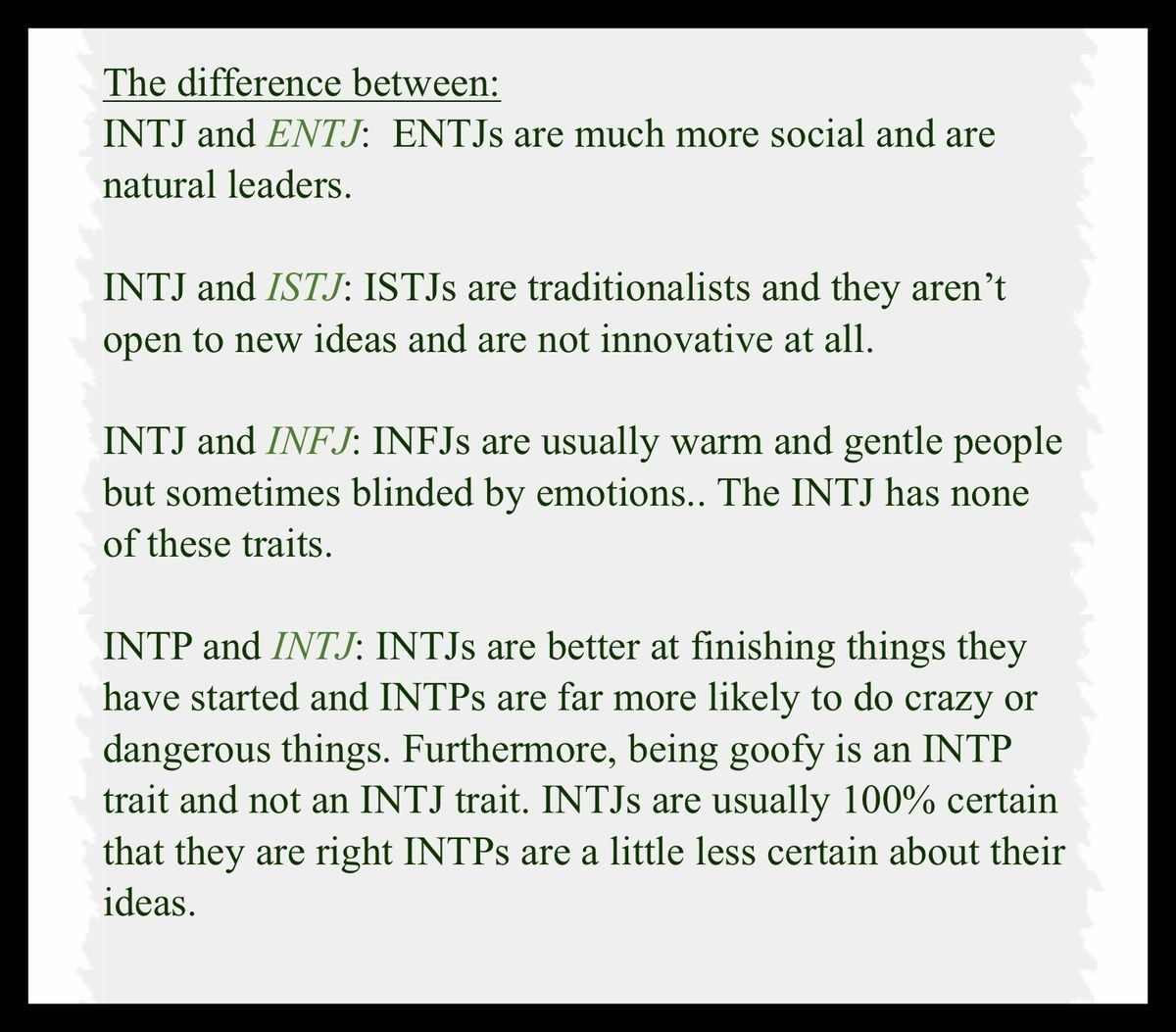Differences INTJ vs ENTJ, INTJ vs ISTJ, INTJ vs INFJ, INTP