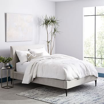 Deco Upholstered Bed, Full, Heathered Crosshatch, Natural, Dark Pewter