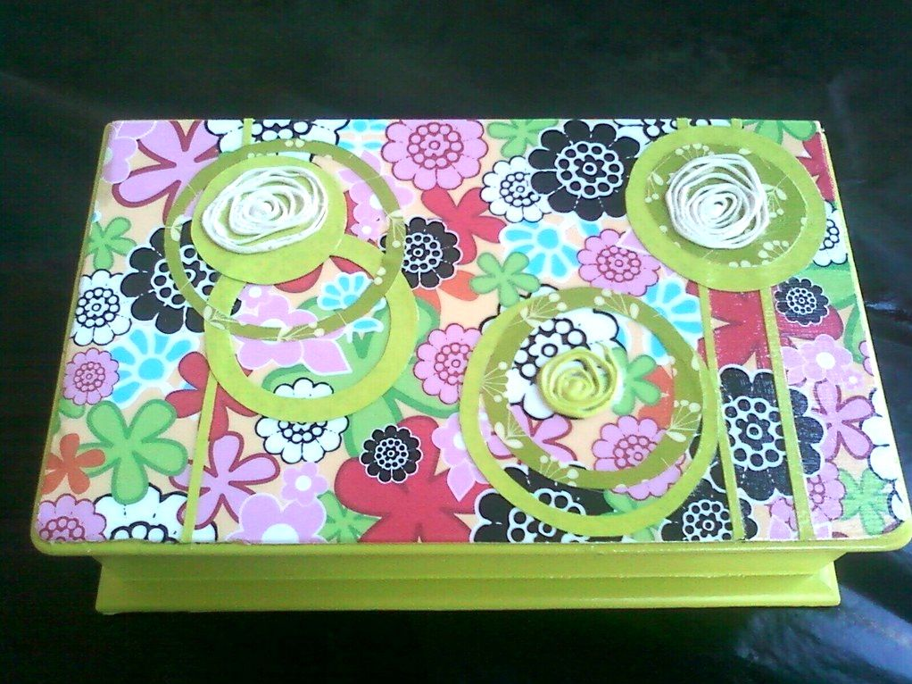 Deco'd Jewelry Box...$8 to make:) The swirlys are none other than hot glue n spray paint:)