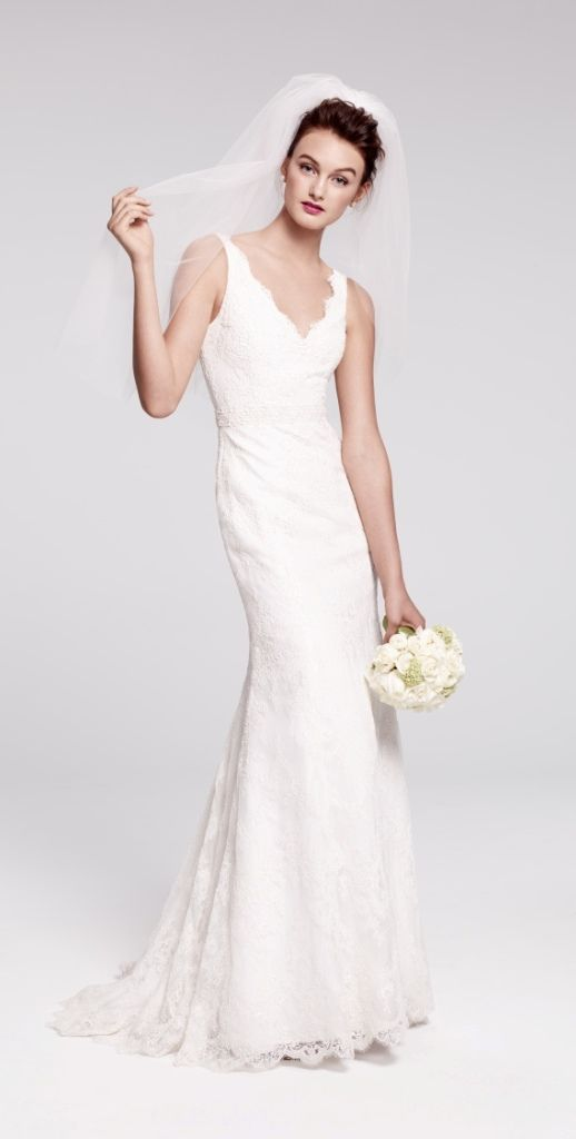 Classic lace v-neck gown, Bliss Monique Lhuillier | Here Comes The ...