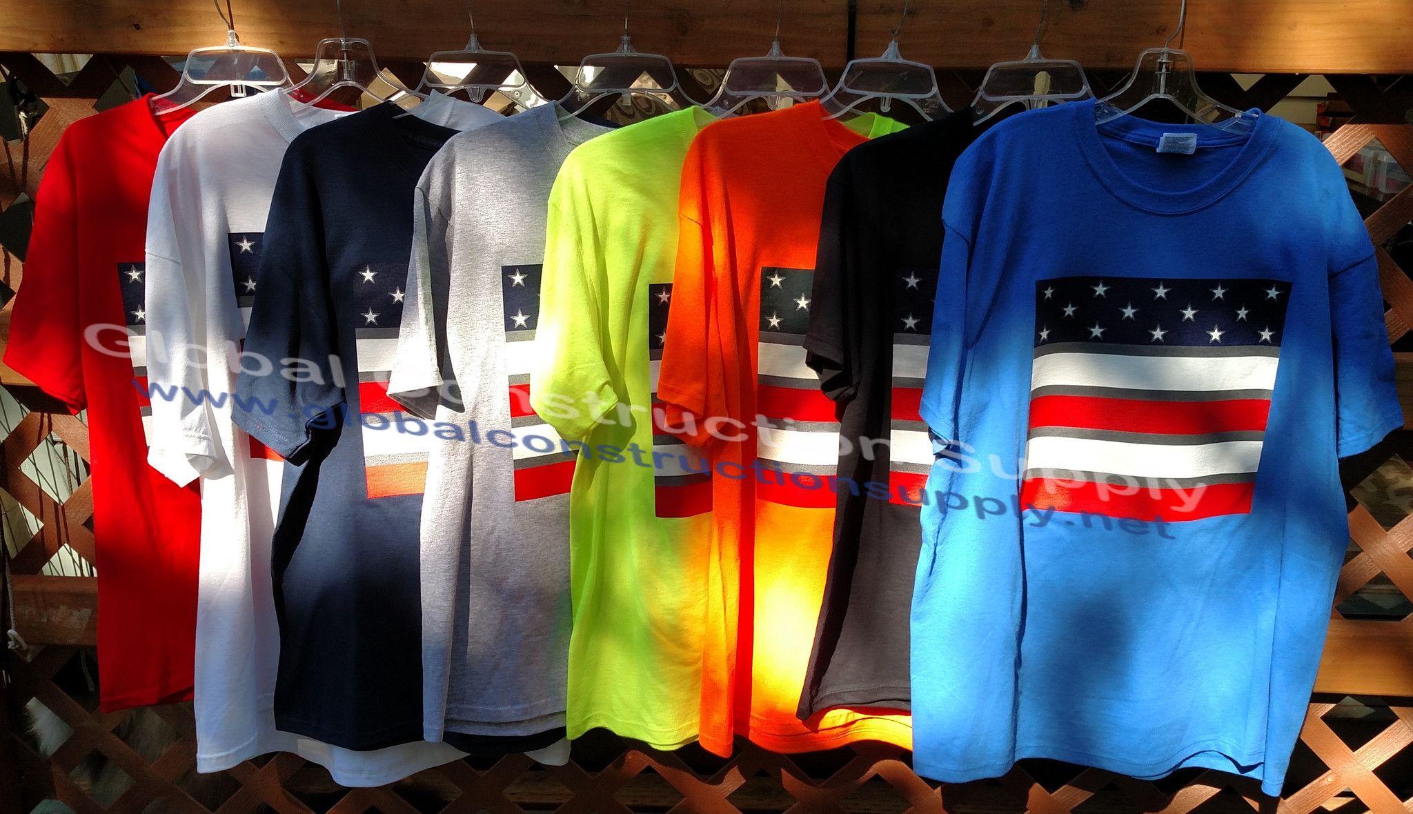 Port & Company Reflective Safety Flag Safety Shirt USA100F
