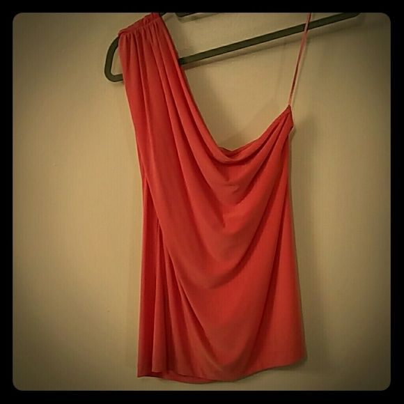 The Limited top- Peachy/coral one shoulder blouse One shoulder blouse, peach/coral in color, silky smooth stretchy material, has a shelf bra inside, new condition, no tags, size Large. The Limited Tops Blouses