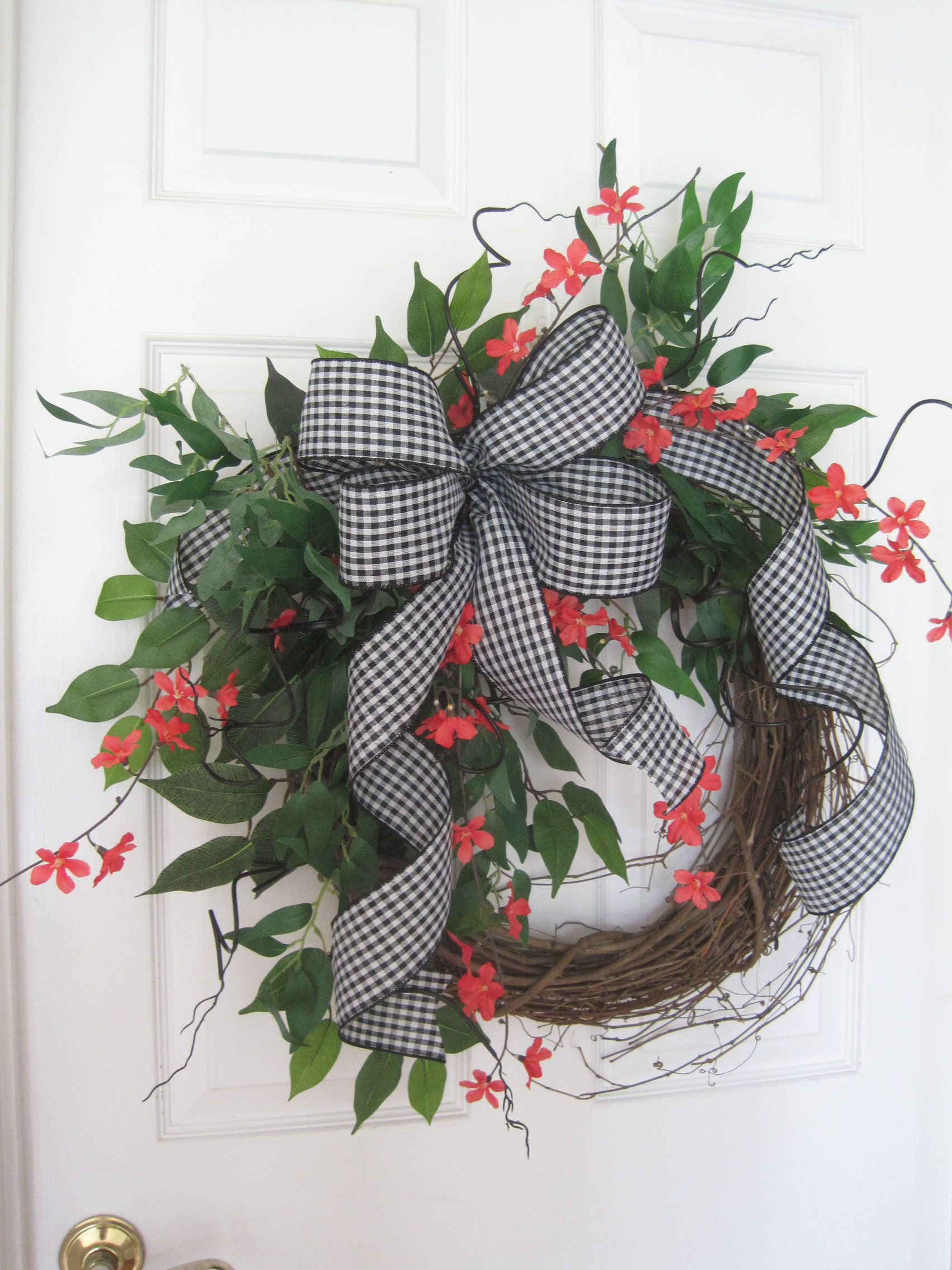 Photo of Spring Summer Wreath, 30X30 Front Door Wreath, Bright Coral Cherry Blossoms, Curly Willow, Wispy Greenery, Gingham Ribbon, Grapevine Wreath