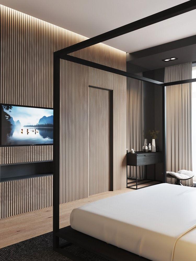 schlafzimmergestaltung-ideen-modern-holzlatten-innentür - moderne tapeten fr schlafzimmer