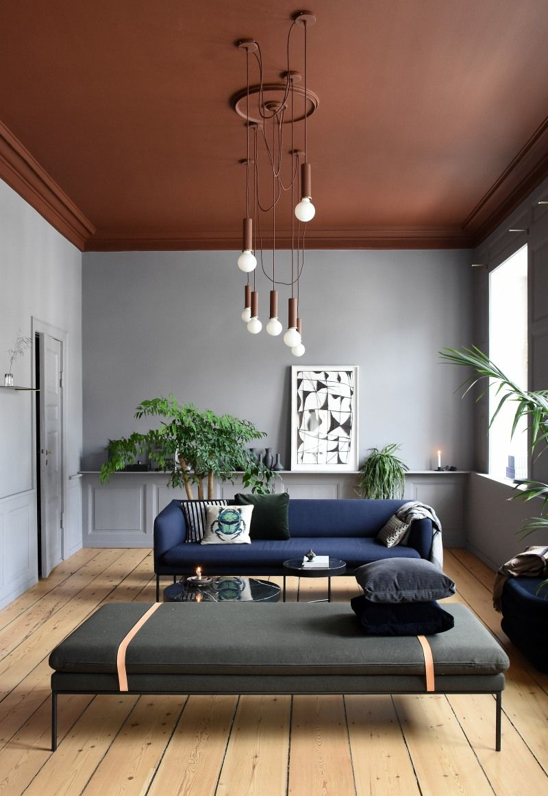 rust painted living room ceiling with gray walls
