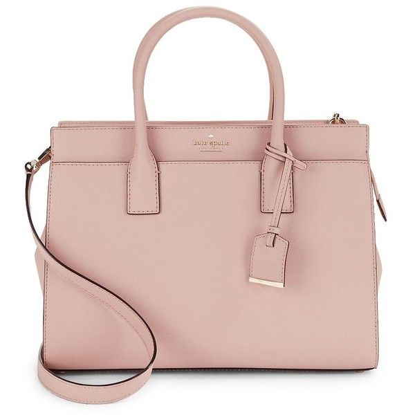 Kate Spade New York Women's Cameron Street Candace Leather Shoulder... (470 CAD) ❤ liked on Polyvore featuring bags, handbags, shoulder bags, purses, tusk black, shoulder hand bags, pink purse, man bag, leather man bags and pink leather handbags