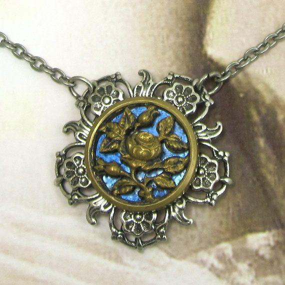 Victorian Button Steampunk Blue Rose Pendant by NicolettesJewelry