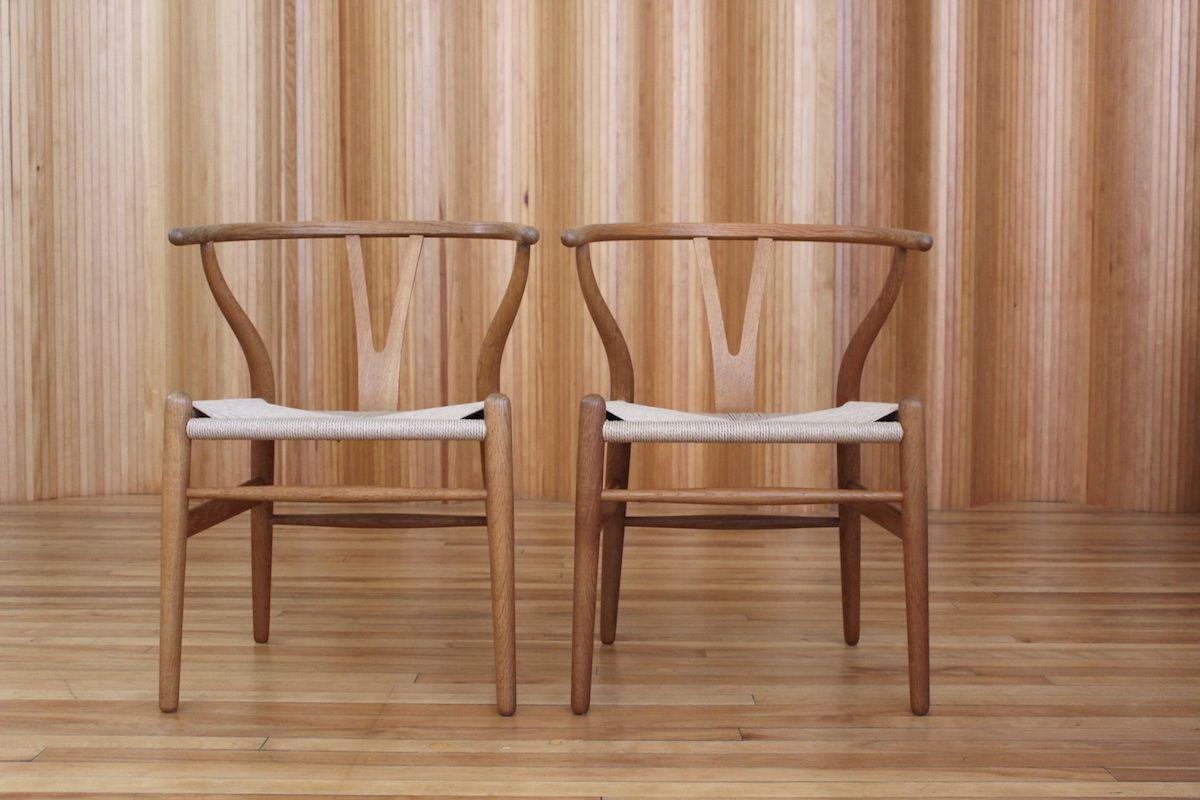 Pair Of Hans Wegner Wishbone Or Y Chairs Model Ch24
