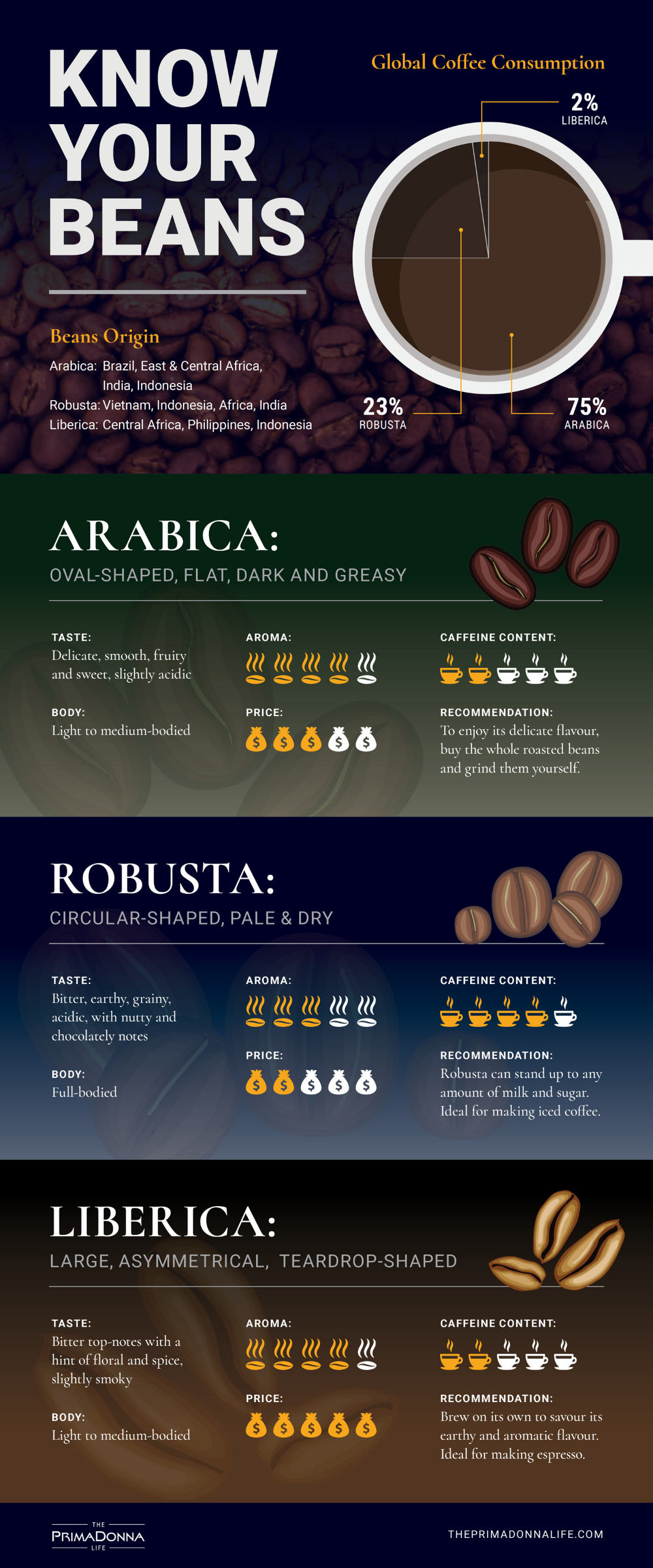 Arabica Robusta And Liberica Are Three Common Coffee Beans Used Globally Organicgreencoffe In 2020 Coffee Beans Photography Coffee Infographic Types Of Coffee Beans